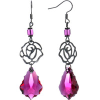 Handcrafted Vintage Rose Dangle Earrings MADE WITH SWAROVSKI ELEMENTS | Body Candy Body Jewelry
