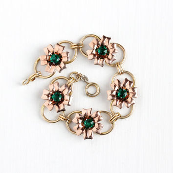 Vintage 10k Rose & Yellow Gold Filled on Sterling Silver Simulated Emerald Bracelet - Retro 1940s Green Glass Flower Panel Statement Jewelry
