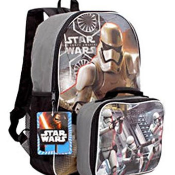 "Star Wars the Force Awakens 16"" Backpack with Detachable Lunch Kit"