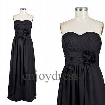 Custom Black Long Bridesmaid Dresses 2014 Simple Prom Dresses Wedding Party Dresses Party Dress Evening Gowns Fashion Evening Dresses