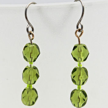 Peridot Glass Bead Dangle Earrings by SeventhChild on Etsy