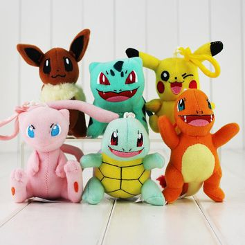 6Pcs/Lot 9~11cm Piplup Squirtle Bulbasaur Mew Eevee Stuffed Plush Toy Soft Doll Pendant keychain With Hook