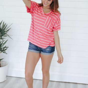 Sunny Days Top - Bright Coral
