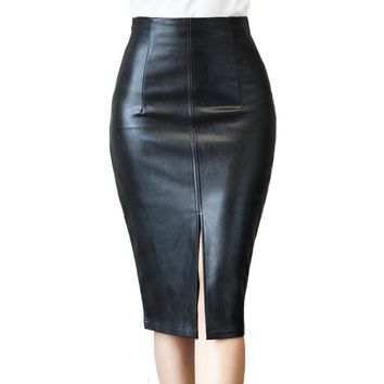 Plus Size S-4XL Leather Skirt Winter 2017 Fashion Black Knee Length Pencil Skirt Slim Office Women Skirt Vintage Midi Skirt