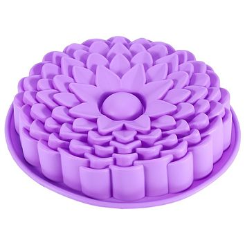 "9"" Sunflower Cake Mould Pan Bread Pizza Baking Tray Silicone Mold Baking Tools Color Send by Randomly"