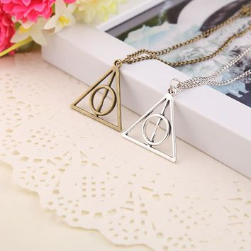*Hot Sale Movie H-P Deathly Hallows Antique Triangle Pendant long Chain Necklace Gift For Men and Women 4ND226