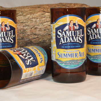 Samuel Adams Drinking Glasses, from Recycled Beer Bottles, 8 oz Glass, ONE glass