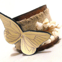 Linen leather bracelet corsage with butterfly SALE by julishland
