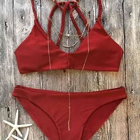 Casual Cute Red Solid Bikini Set