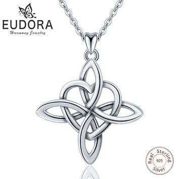 Eudora 925 Sterling Silver Geometrical line Heart Pendant Neckalce Irish Celtics Love Knot Necklace Fine jewelry For Women Gifts
