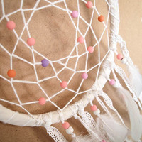 CHRISTMAS SALE! - Dream Catcher - Pastel Dreams - With Pure White Feathers, Colorful Beads and Floral Lace - Boho Home Decor, Nursery Mobile