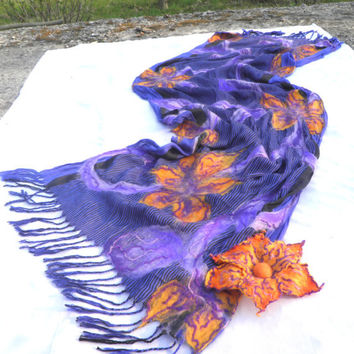 Nuno felted scarf with flowers of merino wool/ summer scarf/Spring Fashion Scarf/OOAK/ Ready to ship