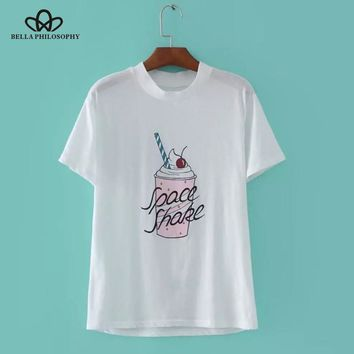 Women summer fruits ice-cream print tee Tshirt