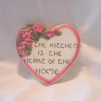 CA Pottery Heart Wall Pocket Ceramic Floral Kitchen Expression