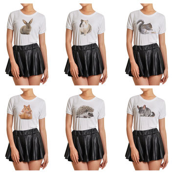 Women Animal-5 Graphic Printed Short Sleeves T- Shirt WTS_07