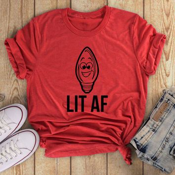 LIT AF light bulb T-shirt funny graphic cute gift aesthetic harajuku Christmas lights tshirt vintage holiday party tumblr tees