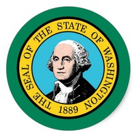 Sticker with Flag of Washington