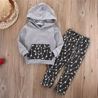 Hot New 2016 Spring girls boys children clothing set baby clothes Long-sleeve T-shirt hoodies pant kids sport suit