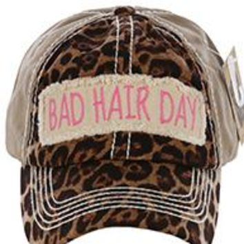 stylish BAD HAIR DAY LEOPARD & Khaki PRINT HAT Baseball CAP