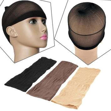 2 Pcs/bag Elastic Unisex Stocking Wig Liner Cap Snood Nylon Stretch Mesh Beige Chape For Wearing Wigs Black Mesh Hair L04708