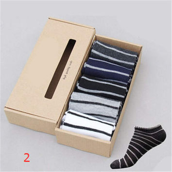 2016 New Mens Comfortable Sports Casual Bicycle Stripe Ankle Socks (5 PCS) Socks-49
