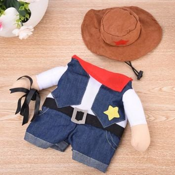 Cute Pet Dog Clothes Cat Clothing With Hat Animals Costume Cat Clothes Cowboy Set Pet Costume Funny Halloween Apperal