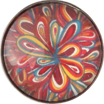 "Snap Charm Colorful Red Orange Blue Pattern 20 mm 3/4"" Diameter"