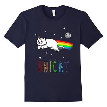 Unicat Unicorn Kitty Cat Rainbow Tail Flying Sky T- Shirt