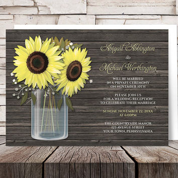 Sunflower Reception Only Invitations - Country Rustic Sunflower Wood Mason Jar Post Wedding Reception Invitations - Printed Invitations