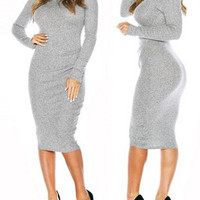 Gray Turtle Neck Long Sleeve Midi Dress