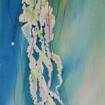 Watercolor Picture, Jellyfish Painting, Jellyfish Wall Art, Watercolor Painting, Original Art Work, Modern Art Painting, Large Painting Art