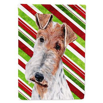 Wire Fox Terrier Candy Cane Christmas Flag Garden Size