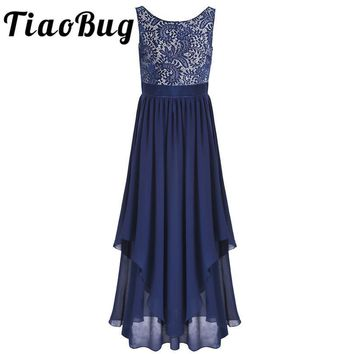 TiaoBug 4 Colors Summer Womens Elegant V Neck Tulle Lace Flower Printed Bridesmaid Formal Prom Party Princess Long Floor Dress