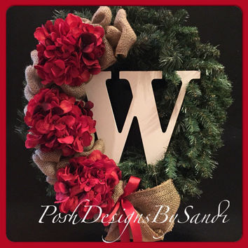 Christmas Burlap Wreath with Monogram Initial- Red Hydrangea Wreath- Front Door Wreath-