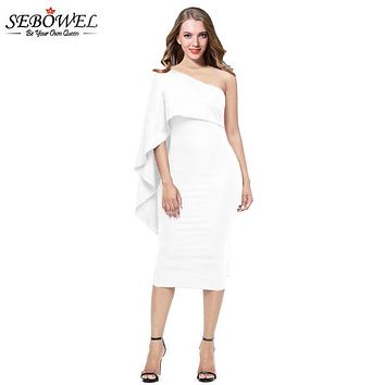 SEBOWEL White Bodycon Sexy Midi Dress Ruffles One Shoulder Elegant Party Dress Women Summer Bandage Dress vestidos verano 2018