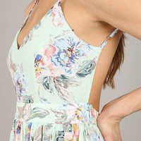 Savannah Backless Floral Maxi Dress - Mint