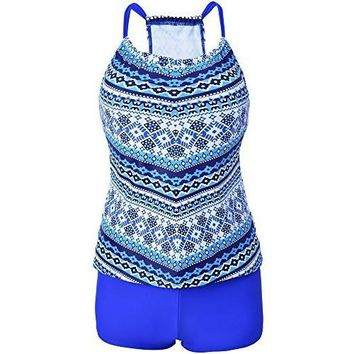 Vilania Women Banded High Waisted Racerback Swimsuit