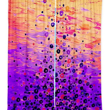 WHAT GOES UP 5 Purple Peach Orange Fine Art Window Curtains Multiple Size Abstract Painting Decor Bedroom Kitchen Lined Unlined Woven Fabric