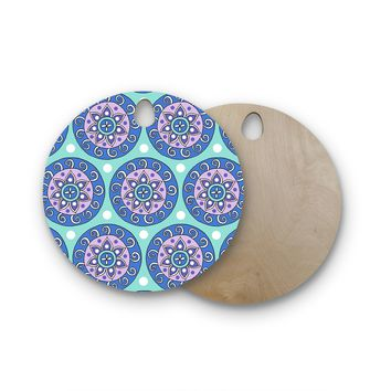 "Sarah Oelerich ""Mandala Dot"" Blue Aqua Round Wooden Cutting Board"
