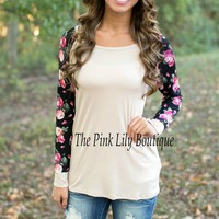 Blooming Blossoms Blouse Taupe