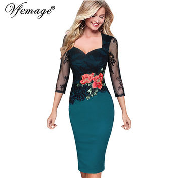 Vfemage Women Embroidered Floral See Through Lace Party Evening Bridemaid Mother of Bride Special Occasion Embroidery Dress 3198