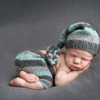 Newborn Infant Baby Stripe Night Hat Pants Handmde Crochet Knit Unisex  Outfit Baby Photo props (Size: 0-6m) = 1958207044