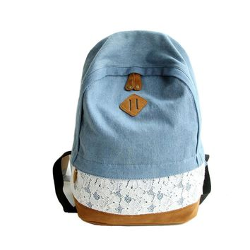 Hot Fashion Floral Lace+Denim Canvas Women Bag Backpack School bag For Teenagers Ladies Girl Back Pack Schoolbag Bagpack Mochila