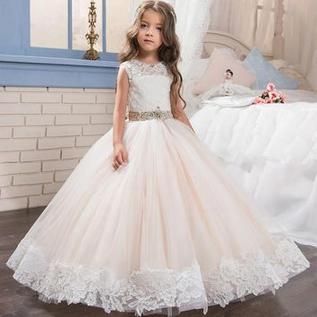 Tulle Lace Sashes Scoop Crystals Flower Girl Dresses for Wedding First Communion Dresses Wedding Party Dress Runway Show Pageant