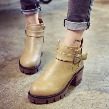 Hot Deal On Sale Waterproof Korean Round-toe With Heel Winter Stylish Dr. Martens High Heel Boots [9013546116]