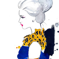 Watercolor Fashion Illustration - Cheetah Chic print