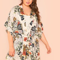 Botanical Print Self Belted Dress