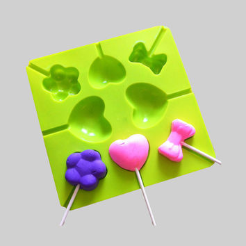 Silicone Lollipop Mold Lollypop Lollygags Chocolate Mould DIY Ice Tray Mold Ice Cube Candy Pudding Mold Love Bowtie Flower Kid