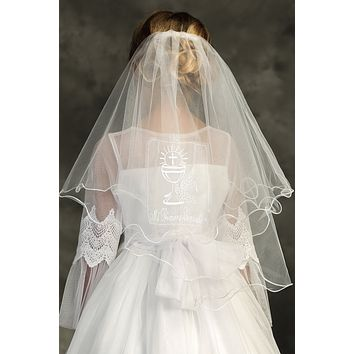 """Girls Cup of Blessing Sacrament White 26"""" First Communion Comb Veil"""