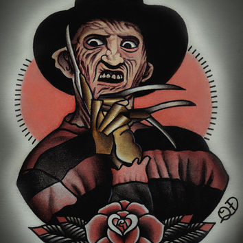 Freddy Krueger Tattoo Art Print